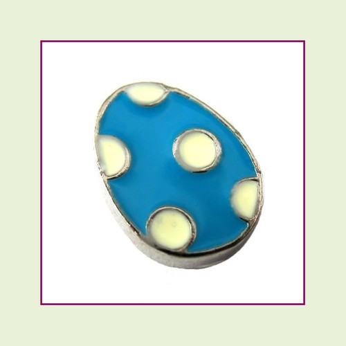 Easter Egg Blue Polka Dot (Silver Base) Floating Charm