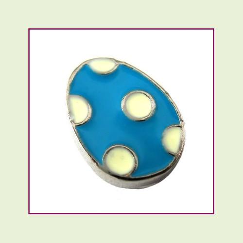 Easter Egg Blue Polka Dot (Silver Base) Floating Charm