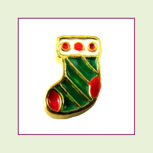 Christmas Stocking Green (Gold Base) Floating Charm