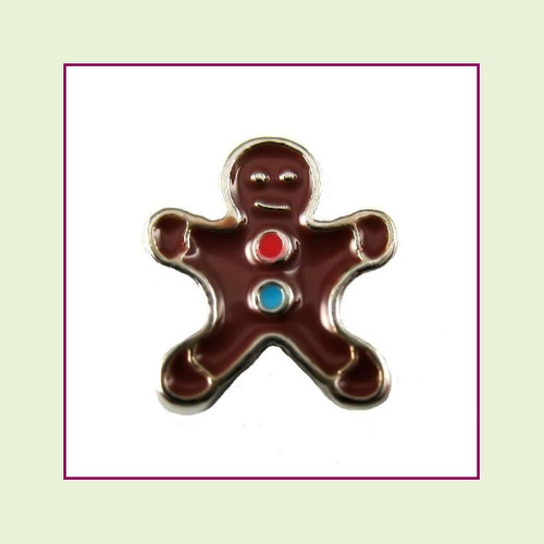 Gingerbread Man #2  (Silver Base) Floating Charm