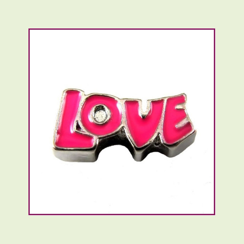 Love Letters Pink (Silver Base) Floating Charm