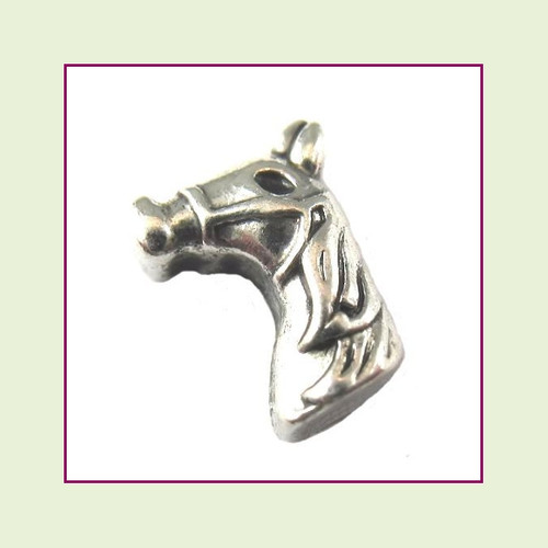 Horse Head Silver Floating Charm