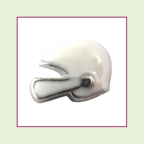 Football Helmet White (Silver Base) Floating Charm
