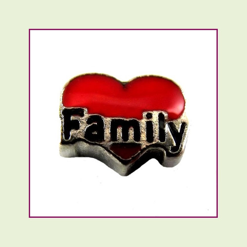Family Red Heart (Silver Base) Floating Charm
