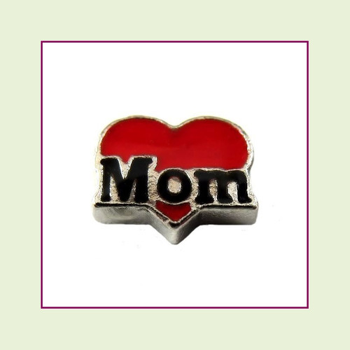 Mom Red Heart (Silver Base) Floating Charm