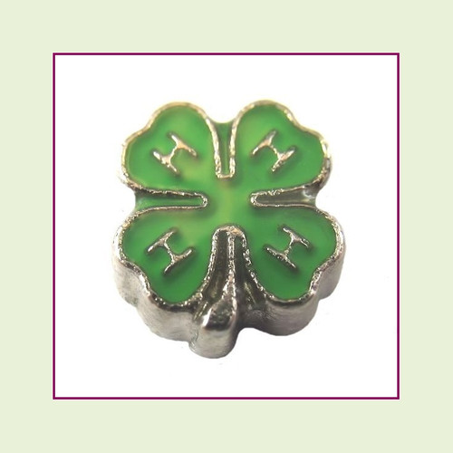 4H Clover (Silver Base) Floating Charm