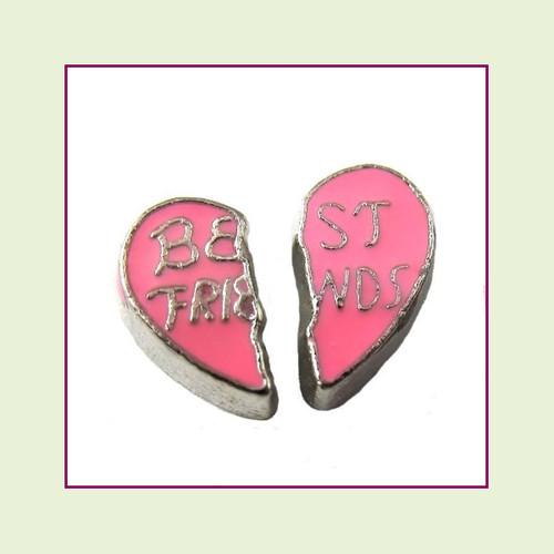 Best Friends Pink Split Heart 2 Piece Set (Silver Base) Floating Charm