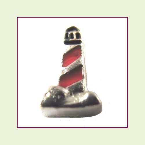 Lighthouse Red and Silver Floating Charm