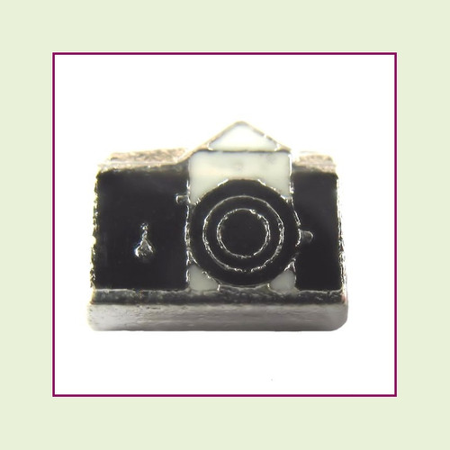 Camera Black (Silver Base) Floating Charm
