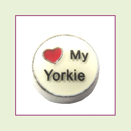 Love My Yorkie (Silver Base) Floating Charm