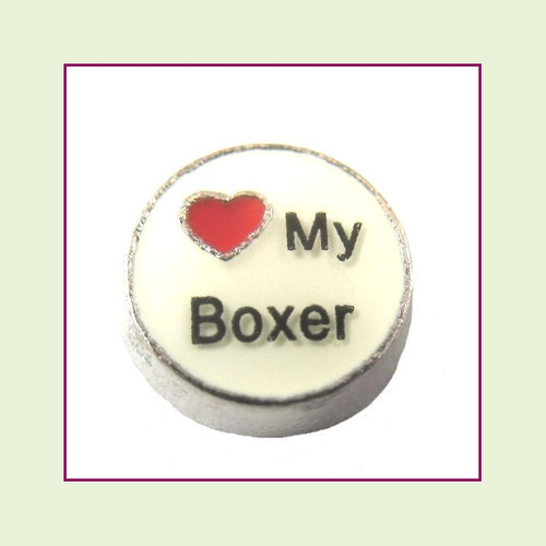 Love My Boxer (Silver Base) Floating Charm