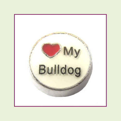 Love My Bulldog (Silver Base) Floating Charm