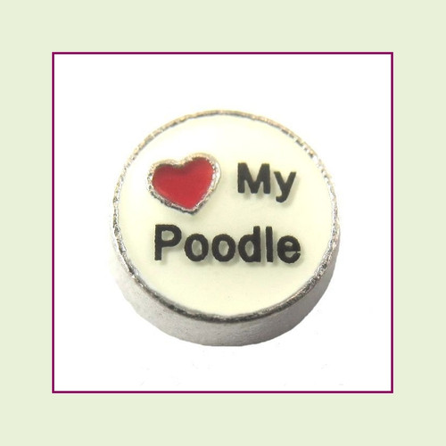 Love My Poodle (Silver Base) Floating Charm