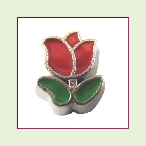 Tulip Red (Silver Base) Floating Charm
