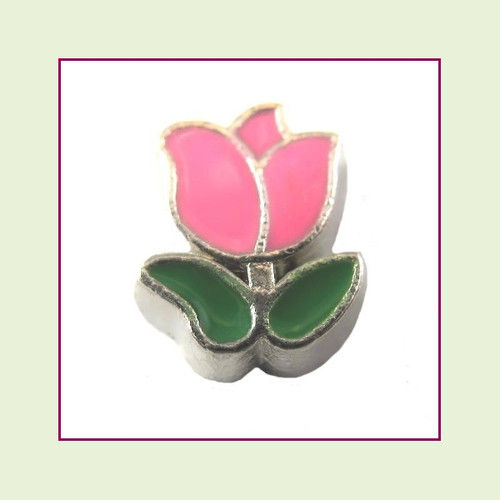 Tulip Pink (Silver Base) Floating Charm