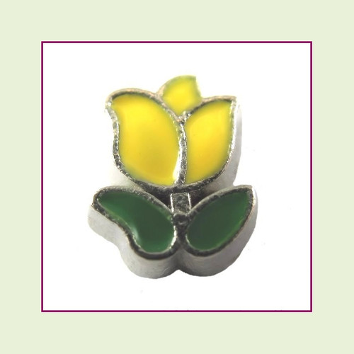 Tulip Yellow (Silver Base) Floating Charm