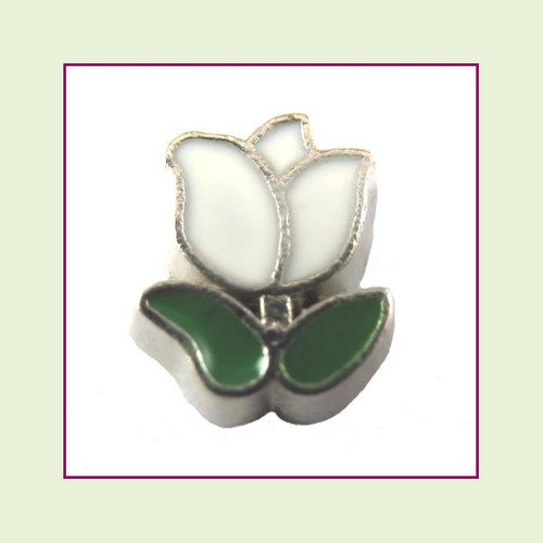 Tulip White (Silver Base) Floating Charm