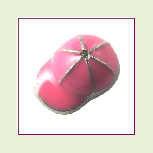 Baseball Cap Pink (Silver Base) Floating Charm