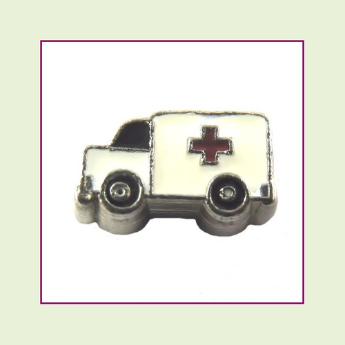 Ambulance (Silver Base) Floating Charm