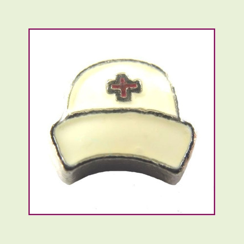 Nurse Hat White (Silver Base) Floating Charm