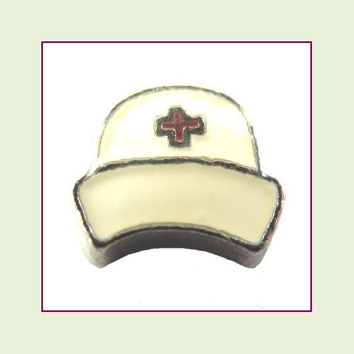 Nurse Hat White (Silver Base) Floating Charm