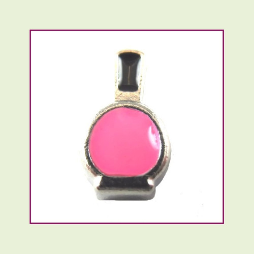 Nail Polish Bottle Pink (Silver Base) Floating Charm