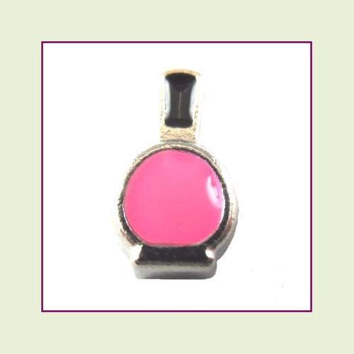 Nail Polish Bottle Pink (Silver Base) Floating Charm