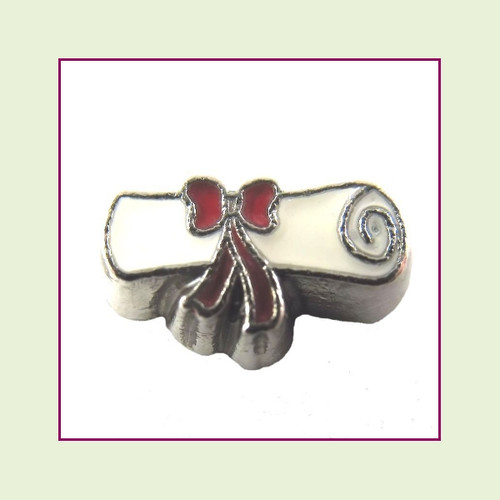 Diploma White (Silver Base) Floating Charm