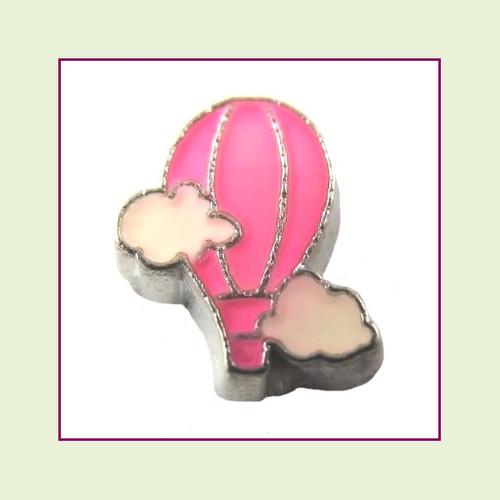 Hot Air Balloon Pink (Silver Base) Floating Charm