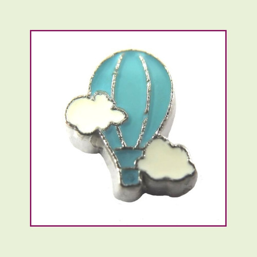 Hot Air Balloon Blue (Silver Base) Floating Charm