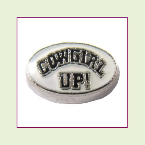 Cowgirl Up! on White Oval (Silver Base) Floating Charm