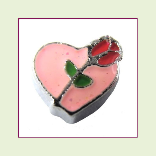 Rose on Pink Heart (Silver Base) Floating Charm