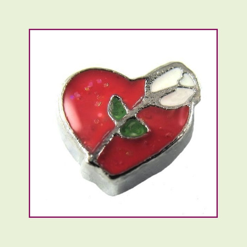 Rose on Red Heart (Silver Base) Floating Charm