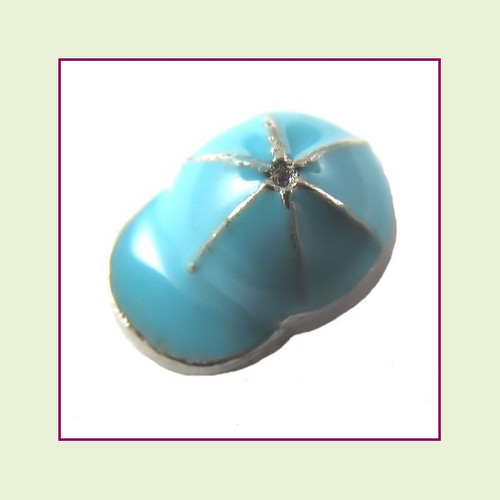 Baseball Cap Blue (Silver Base) Floating Charm