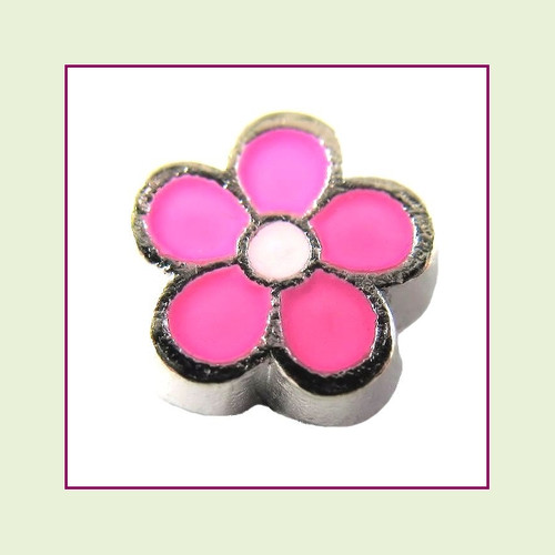 Cute Pink Flower (Silver Base) Floating Charm