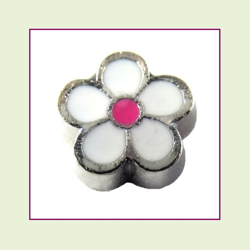 Cute White Flower (Silver Base) Floating Charm