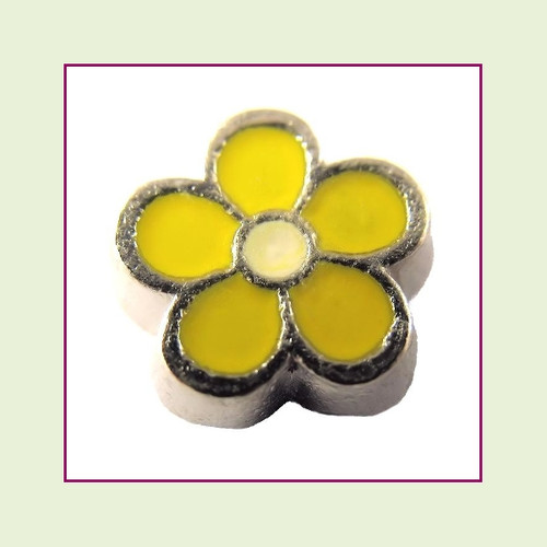 Cute Yellow Flower (Silver Base) Floating Charm