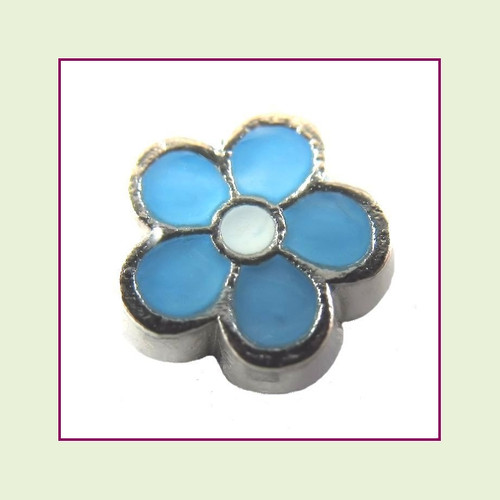 Cute Blue Flower (Silver Base) Floating Charm