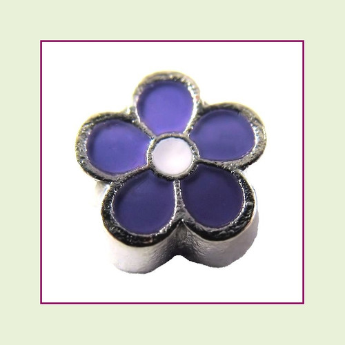 Cute Purple Flower (Silver Base) Floating Charm