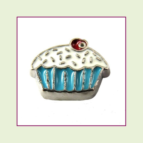Cupcake Blue with Cherry (Silver Base) Floating Charm