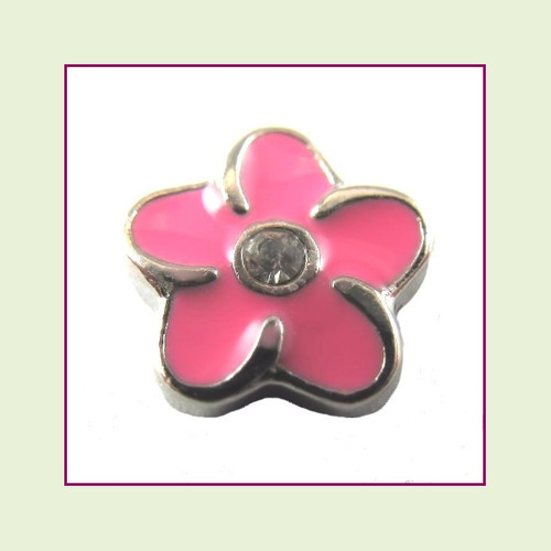 Flower Pink with Crystal (Silver Base) Floating Charm