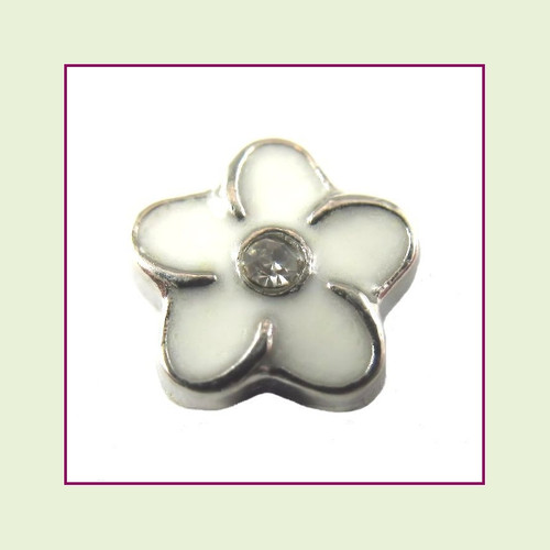 Flower White with Crystal (Silver Base) Floating Charm