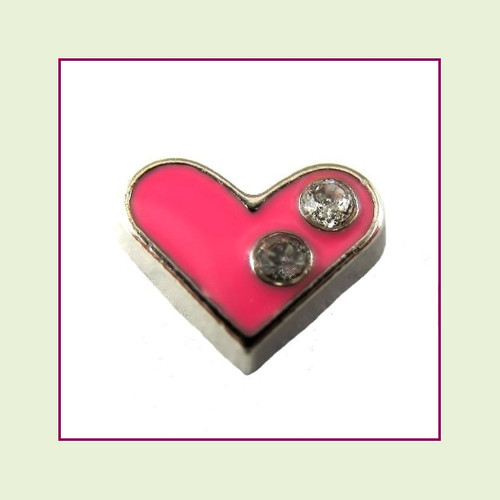 Pink Heart with 2 Crystals (Silver Base) Floating Charm