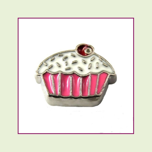 Cupcake Pink with Cherry (Silver Base) Floating Charm