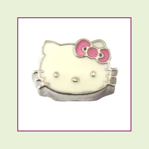 Cat Face White with Pink Bow (Silver Base) Floating Charm