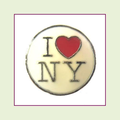I Love NY (Silver Base) Floating Charm