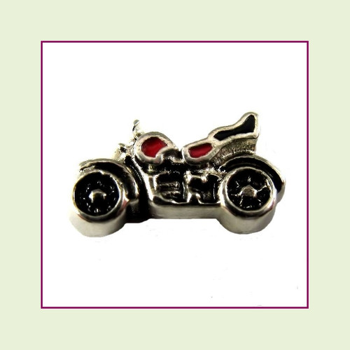 Motorcycle Black and Red (Silver Base) Floating Charm