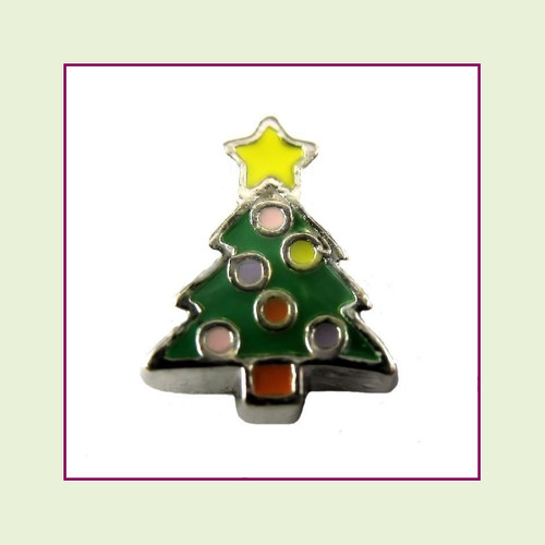 Christmas Tree #3 Decorated (Silver Base) Floating Charm