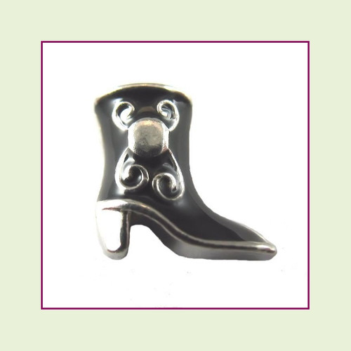 Cowgirl Boot Black (Silver Base) Floating Charm