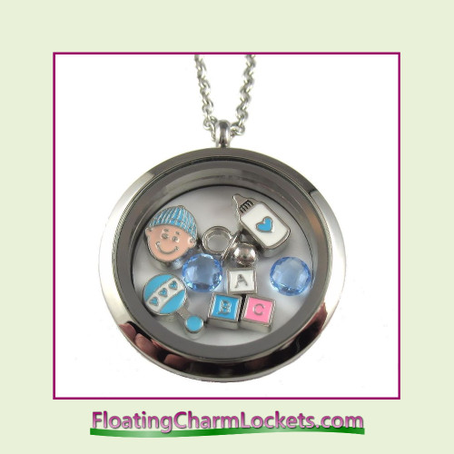 FCL Designs® Baby Boy Theme Floating Charm Locket
